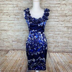 Maggy London blue sheath cocktail dress sz 2